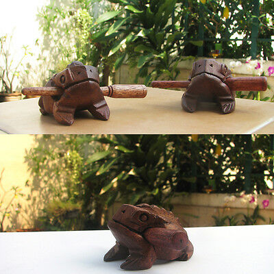 Thai Wooden Frog original Teak Wood Hand Carved Croaking Percussion Sound Frog