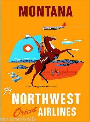 1950's Montana Vintage United States of America Travel Advertisement Poster