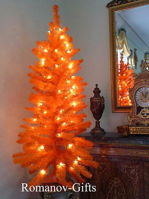 ORANGE Thanksgiving, Autumn,Halloween, Christmas Tree Pre-lit  ,4 Ft
