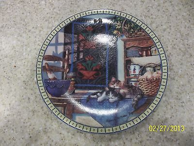 1990 Knowles Lazy Morning Cozy Country Corners Collector Plates Quilt Kittens