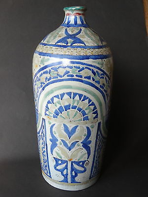 """Large Motrob Bottle-Faience From Fez-Morocco Signed Fes-Early 20Th Cent-35Cm-14"""""""