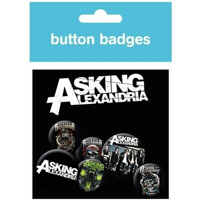 ASKING ALEXANDRIA 6 Button BADGE PACK Official Metal Pin Badges NEW