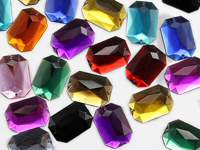 25x18mm Octagon Flat Back Sew On Beads for Crafts - 20 Pieces - 13 Colors