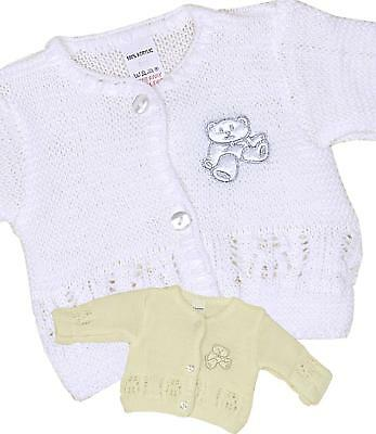 BabyPrem Baby Clothes White Cream Knitted Cardigan Premature Preemie - 6m