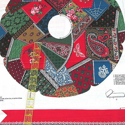 """Vtg 80s Christmas Wreath cotton fabric panel CHEATER Victorian crazy quilt 20"""""""