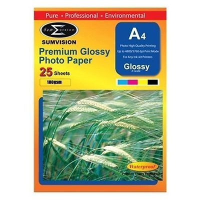 A4 Premium Glossy Sumvision Inkjet Deskjet Photo Paper 180gsm 25 sheets 1 Pack