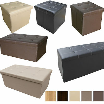 Large Faux Leather Folding Ottoman Pouffe Seat Foot Stool Storage Box