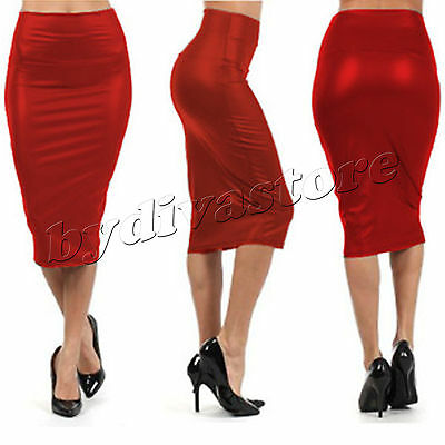 Sexy Leder Look Bleistiftrock Pencil Wetlook Stretch Glanz Business Rock Rot