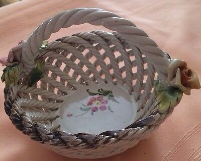 Vintage Capodimonte Italy Hand Painted Weave Basket  with Pink Yellow Roses