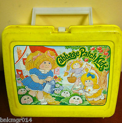 1983 Cabbage Patch Kids Thermos Plastic Yellow Lunch Box