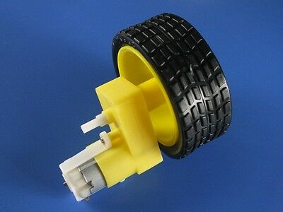 2pcs Biaxial DC Geared Motor Right-angle + Tyre Wheel for Smart Car 120:1