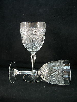 """Luminarc Antique 7"""" Wine and 7 1/2"""" Water Goblet Set Clear Diamond Fan France VF"""