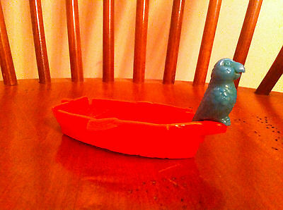 vintage toy pirate redboat/rowboat/lifeboat accessory green parrot collectible