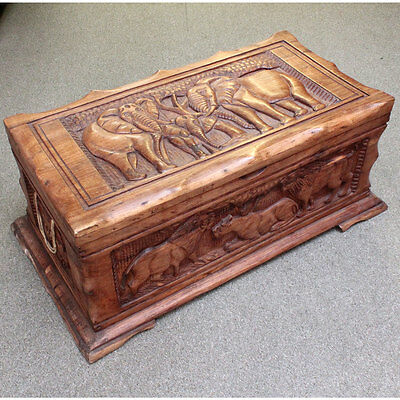 Hand Carved - African Elephant Large Wooden Chest - Good Condition