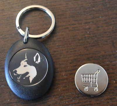 Personalised Siberian Husky Face Shopping Trolley Locker Coin Keyring Dog Sibe