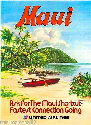 1960s Maui Hawaii Hawaiian Beach United States Travel Advertisement Art Poster