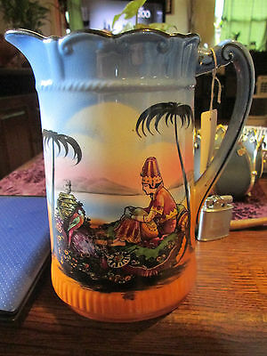 ANTIQUE PORCELAIN HAND PAINTED  LARGE PITCHER  SIGNED