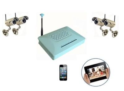 Kit Video Sorveglianza Dvr Recorder + 2 Telecamere Ir Wireless Con Infrarossi
