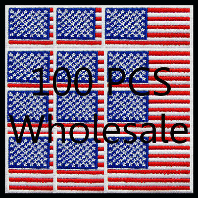 100 PCS x USA United States Flag Embroidered American Iron On Patch National