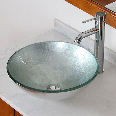 Modern Bathroom Glass Vessel Sink With Silver Pattern & Chrome Faucet Combo
