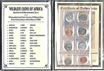 16 Different African Nations Wildlife Coins,Certificate of Authenticity,Album