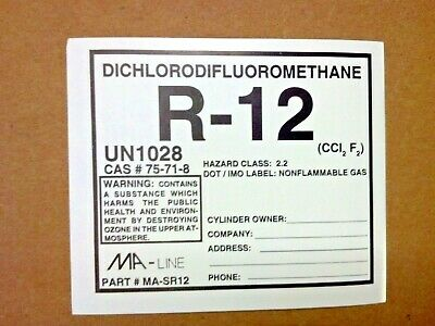 R12, R-12, Refrigerant-12, Labels, STICKER, DICHLORODIFLUOROMETHANE, UN1028
