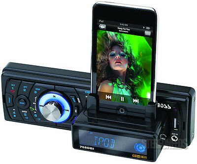 BOSS 758DBI IN DASH MP3/SD/USB iPOD DOCK STATION BLUETOOTH RECEIVER AUX STEREO