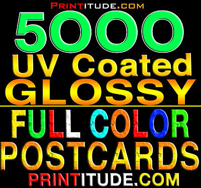 """5000 PERSONALIZED POSTCARDS 2x4 FULL COLOR GLOSSY 14PT THICK 2SIDED 2""""X4""""+Design"""