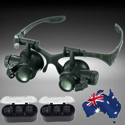 10X 15X 20X 25X LED Eye Jeweler Watch Repair Magnifying Glasses Loupe EMAGL9827