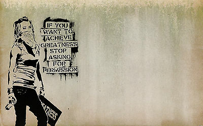 A1 print banksy  Graffiti Street poster Art Wall Decor Canvas