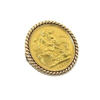 9ct & 22ct Yellow Gold Queen Victoria Dated 1887 Full Sovereign Coin Brooch