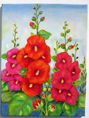 "Red Hollyhocks Original  Oil Painting Canvas Wall  Art Deco 12""x16"" Signed"