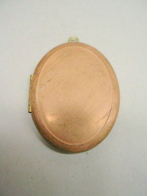 Vintage Brass Oval Locket - Plain frame front & plain back 3 pieces