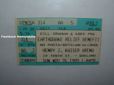 JOHN FOGERTY 1989 EARTHQUAKE RELIEF Ticket Stub BIG BROTHER Cold Blood TAJ MAHAL