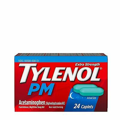 Tylenol PM Pain Reliever/Nighttime Sleep Aid Tablets 24ct -FREE WORLDWIDE SHIP-