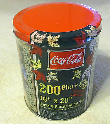 AMG Coca-Cola Special Edition Tin, 200 Piece Puzzle, Age 8 & Up, 1998, Sealed