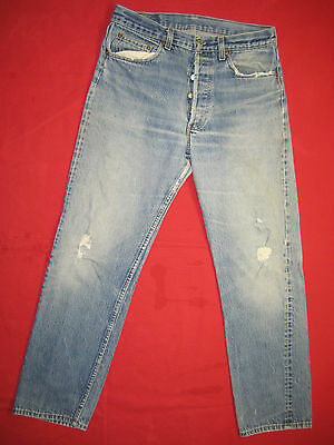 D6054 frayed holes levi's 501 blue jeans 34x34 used destructed made in the USA