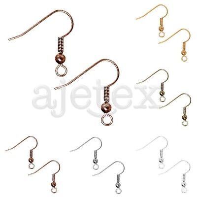 110pcs Iron Flat Coil Earring Hook Ear Wires Findings 30g 18x16mm 5 Colors