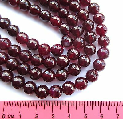 "Faceted Agate round gemstone 8mm beads. 15"" strand (~ 48pcs) SP51"