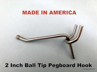 "(100 PACK) USA Made 2 Inch Metal Peg Hooks. For 1/8 to 1/4"" Pegboard or Slatwall"