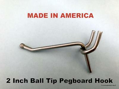 (100 PACK)  USA  Made 2 Inch Metal Peg Hooks. For 1/8 & 1/4 Pegboard or Slatwall