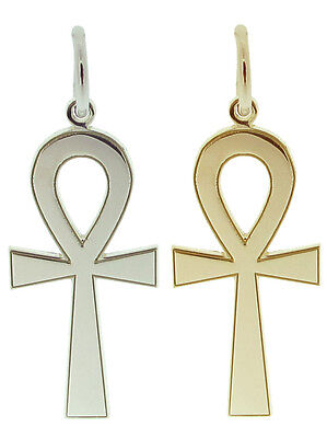 Solid Silver Gold & Plated 9ct Egyptian Ankh Cross Pendant & Chain In Gift Box