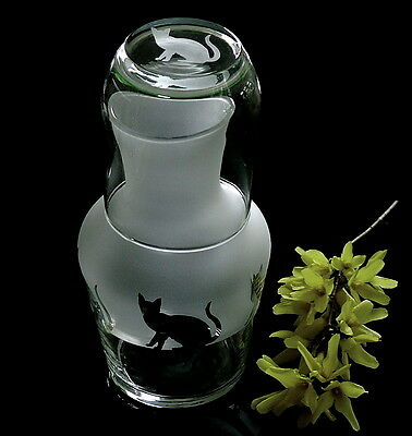 Cat Carafe with matching engraved glass