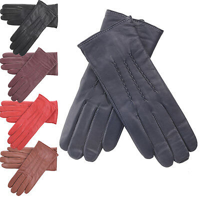 Ladies Leather Driving Gloves Attractive Classic Style and Warm Fleece Lining