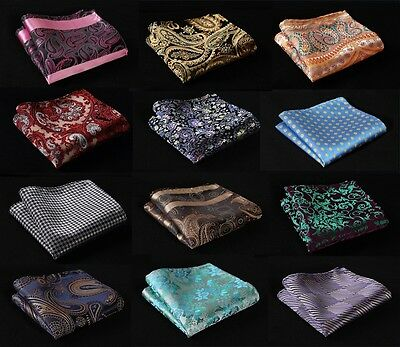 FC Paisley Floral Men Silk Satin Pocket Square Hanky Wedding Handkerchief