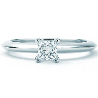 bed030276 TIFFANY & CO. Certified Platinum 0.30ct Diamond Solitaire Engagement ...