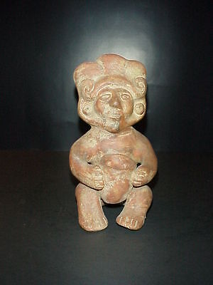 Antique Pre-Columbian Red Clay Terracotta Figure Statue Seated Man with Bowl