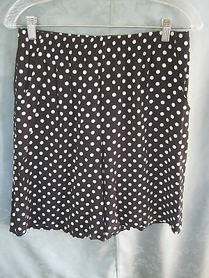 Vintage 90's First Option Size Large Polka Dot Flowy Shorts Black & White