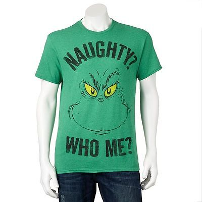 DR. SEUSS The Grinch HOLIDAY Tee NAUGHTY WHO ME Christmas T SHIRT Ugly Sweater