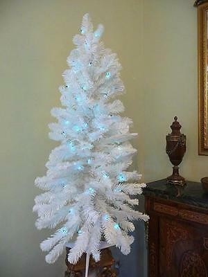 Sparkling WHITE Retro Christmas Tree Pre-lit w/ BLUE colored lights,4 Ft